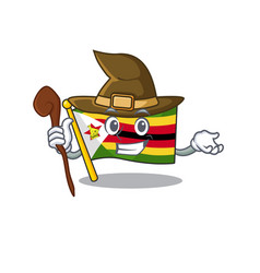 Happy halloween witch flag zimbabwe cartoon vector