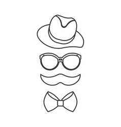 Hat glasses and mustache icon Hipster style vector