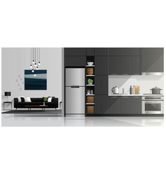 house interior scene with kitchen and living room vector image