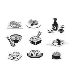 icons set of sushi or seafood rolls vector image