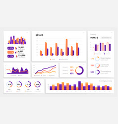 infographic ui dashboard mockup with statistics vector image