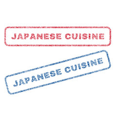 Japanese cuisine textile stamps vector