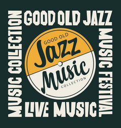 jazz music poster with vinyl record in retro style vector image