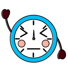 kawaii round clock time cartoon character vector image