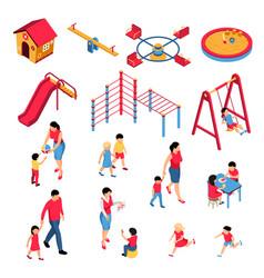 kindergarten isometric set vector image