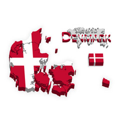 Kongeriget denmark 3d flag and map vector