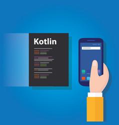 kotlin mobile application programming language vector image