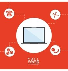 Laptop call center design vector