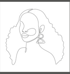 Line art portrait african american woman vector