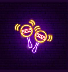maracas music neon sign vector image