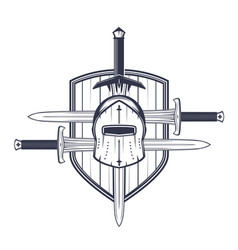 Medieval helmet swords and shield vector
