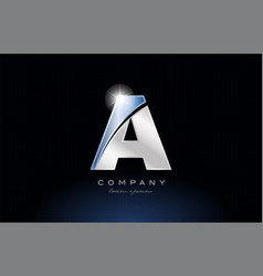 Metal blue alphabet letter a logo company icon vector
