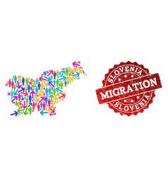 Migration composition of mosaic map of slovenia vector