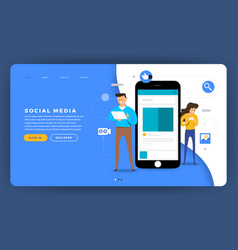 Mock-up design website flat design concept social vector