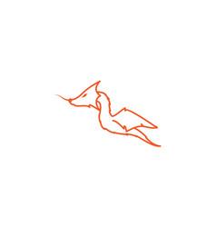 Modern line cute dragon logo design vector