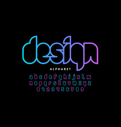 Modern outline font design alphabet letters and vector