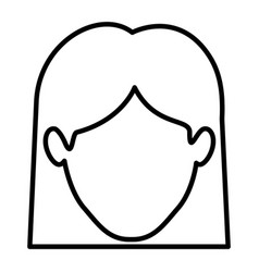 Monochrome contour of faceless woman with straight vector