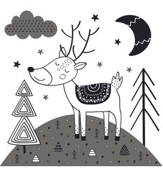 Monochrome deer in scandinavian style vector