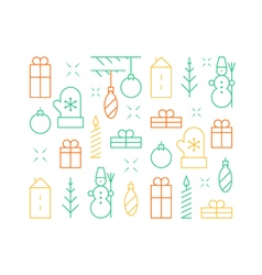 New Year and Christmas seamless pattern linear vector