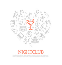 night club thin line icons in heart shape vector image