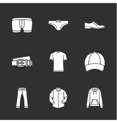 nine modern clothes icons vector image