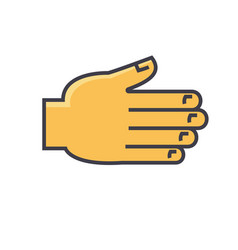 Open hand greetings grabbing reaching gesture vector