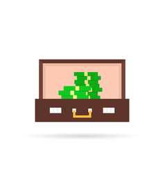 open suitcase with pile of money vector image