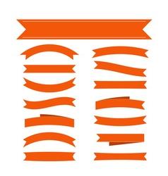 Orange ribbon banners set vector image