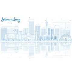 Outline johannesburg skyline vector