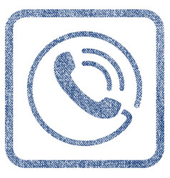 Phone call fabric textured icon vector