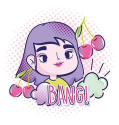 pop art cartoon girl cherry fruits clouds halftone vector image