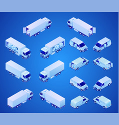 postal transport isometric icons set vector image