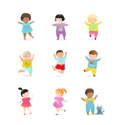 Preschooler and kindergarten happy kids characters vector
