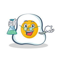 Professor fried egg character cartoon vector