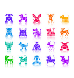 robot dog color silhouette icons set vector image