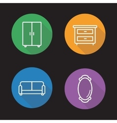 Room interior flat linear icons set vector image