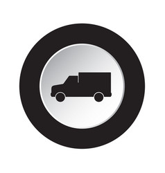 round black white button icon - van car vector image