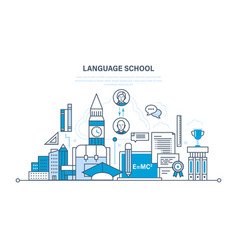 School foreign language learning modern education vector