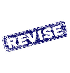 Scratched revise framed rounded rectangle stamp vector