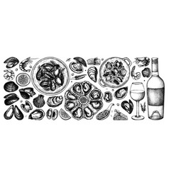 Seafood and wine collection in vintage style hand vector