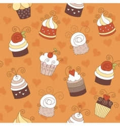 seamless pattern with cute cup vector image