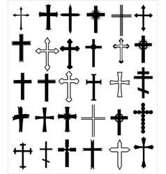 set different crosses religion cross icon vector image