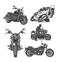 set motorcycles isolated on white background vector image