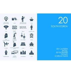 Set of BLUE HAMSTER Library South Korea icons vector
