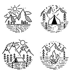 set of hand drawn hiking and tourism emblems vector image