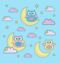Sky-blue owl cartoon color vector