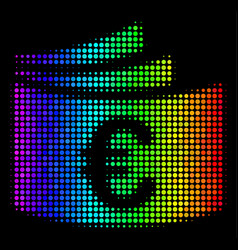 Spectral colored dotted euro checkbook icon vector