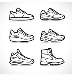 sports shoes icons set vector image
