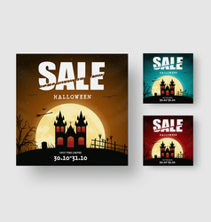square web banner design for halloween sale with vector image