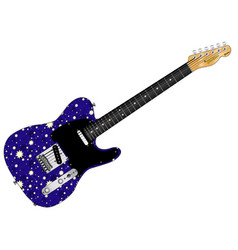 Stary night electric guitar vector